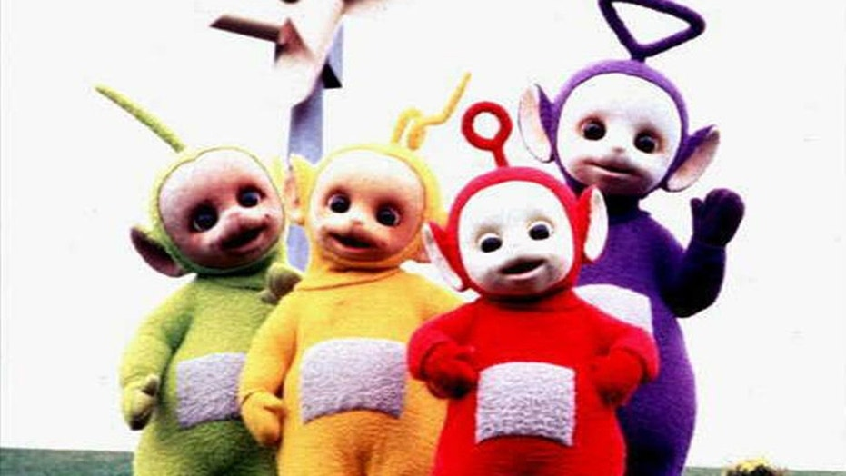 Teletubbies characters Dispy, Laa Laa, Po and Tinky Winky.