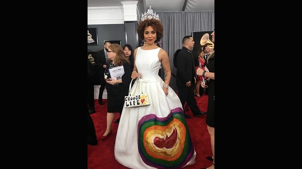 Joy Villa Promotes Pro-Life on the Grammys NYC Red Carpet