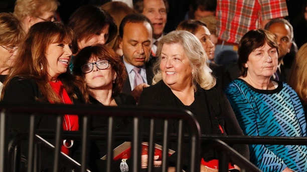 Paula Jones, Kathleen Willey, Juanita Broaddrick and Kathy Shelton (L-R) sit at the presidential town hall debate between Republican U.S. presidential nominee Donald Trump and Democratic U.S. presidential nominee Hillary Clinton at Washington University in St. Louis, Missouri, U.S., October 9, 2016. REUTERS/Lucy Nicholson - HT1ECAA035B1L