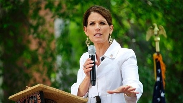 July 19: Republican presidential candidate, Rep. Michele Bachmann, R-Minn.,  speaks during a political rally in downtown Aiken, S.C.