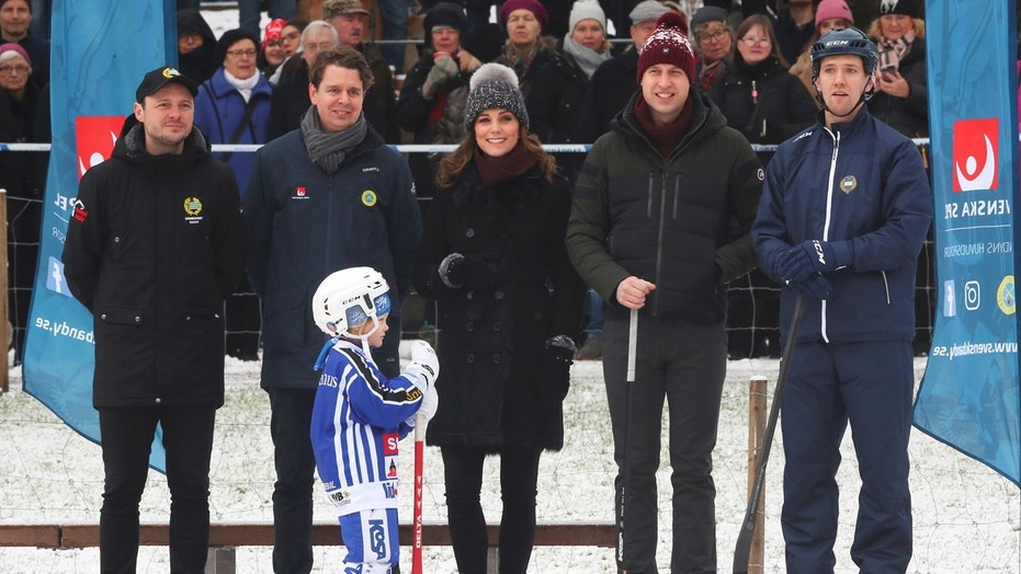 Britain's Prince William and Catherine, the Duchess of Cambridge, visit a bandy ice rink in Stockholm, during their official visit to Sweden, January 30, 2018.