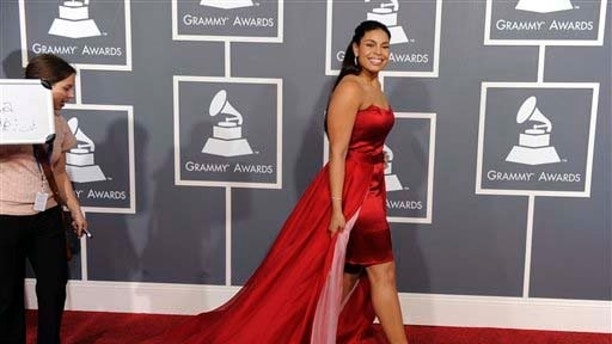 Jordan Sparks arrives at the 53rd annual Grammy Awards on Sunday, Feb. 13, 2011, in Los Angeles. (AP Photo/Chris Pizzello)