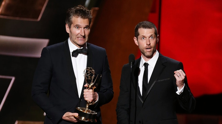 "David Benioff (L) and D.B. Weiss accept the award for Outstanding Writing For A Drama Series for HBO's ""Game of Thrones"" at the 67th Primetime Emmy Awards in Los Angeles, California September 20, 2015.  REUTERS/Lucy Nicholson - TB3EB9L06GQU7"