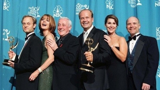 "The cast of ""Frasier"" pose with their Emmy Awards after the series won Outstanding Comedy Series, and actors Kelsey Grammer won Outstanding Lead Actor in a Comedy and David Hyde Pierce won Outstanding Supporting Actor in a Comedy at the 50th Annual Emmy Awards September 13 in Los Angeles. The cast (L-R) are David Hyde Pierce, Jane Leeves, John Mahoney, Kelsey Grammer, Peri Gilpin, Dan Butler.