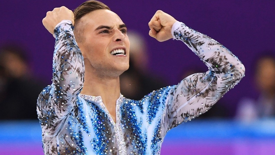 Adam Rippon of the United States reacts after his performance in the men's single skating free skating in the Gangneung Ice Arena at the 2018 Winter Olympics in Gangneung, South Korea, Monday, Feb. 12, 2018.