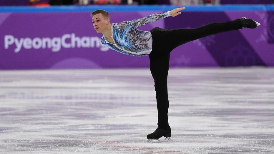 Adam Rippon of the United States performs in the men's single skating free skating in the Gangneung Ice Arena at the 2018 Winter Olympics in Gangneung, South Korea, Monday, Feb. 12, 2018.