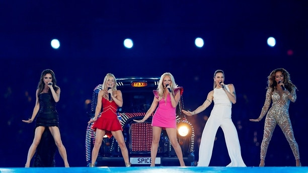 The Spice Girls perform during the closing ceremony of the London 2012 Olympic Games at the Olympic Stadium