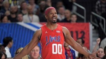 Feb 16, 2018; Los Angeles, CA, USA; Jamie Foxx reacts during the NBA All-Star Celebrity Game at the Los Angeles Convention Center. Mandatory Credit: Kirby Lee-USA TODAY Sports - 10620711