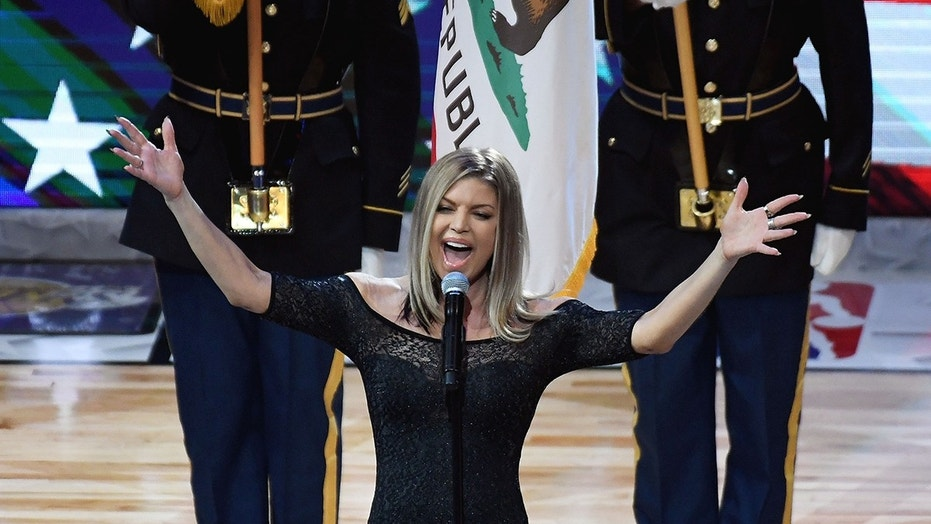 Feb 18, 2018; Los Angeles, CA, USA; Recording artist Fergie performs the national anthem before the 2018 NBA All Star game at Staples Center. Mandatory Credit: Richard Mackson-USA TODAY Sports - 10628566