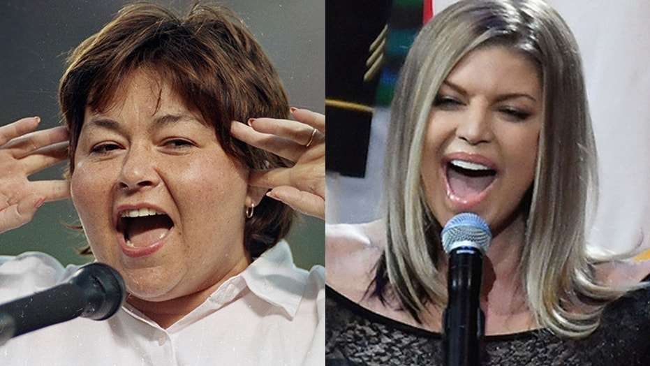 Roseanne Barr, who sang the national anthem in 1990 (left), compared her performance to Fergie's at the Feb. 18 All-Star game.