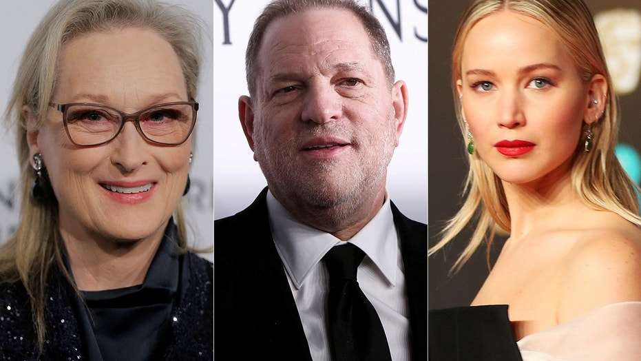 Harvey Weinstein (center) has asked a judge to toss out a federal sexual misconduct lawsuit filed against him and he's invoking the words of Jennifer Lawrence (right), Meryl Streep and other A-list actresses in his defense.