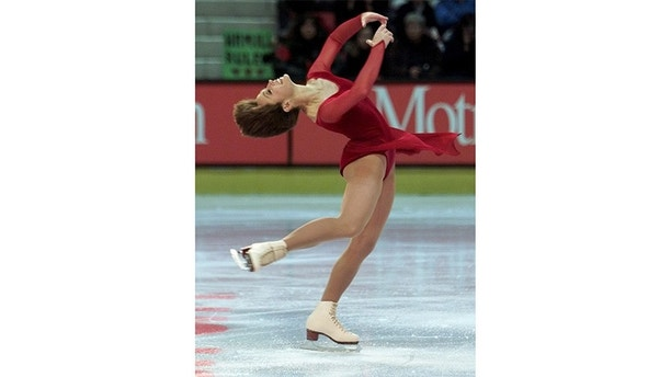 American Dorothy Hamill performs her technical skate at the Goodwill Winter Games in Lake Placid February 18. Hamill, age 43, an Olympic Champion in 1976, sits in fifth place after this portion of the competition.