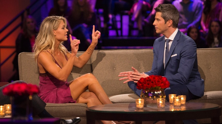 """Bachelor"" contestant Krystal Nielson argues with Bachelor Arie Luyendyk Jr during the show's ""Tell All"" episode."