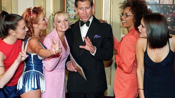 Prince Charles meets the British all girl pop-group The Spice Girls at a royal gala celebrating 21 years of the Princes Trust at the Opera House in Manchester, May 9, 1997.