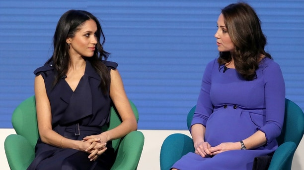 Britain's Catherine, Duchess of Cambridge and Prince Harry's fiancee Meghan Markle attend the first annual Royal Foundation Forum held at Aviva in London, February 28, 2018 . REUTERS/Chris Jackson/Pool - RC14948C5330