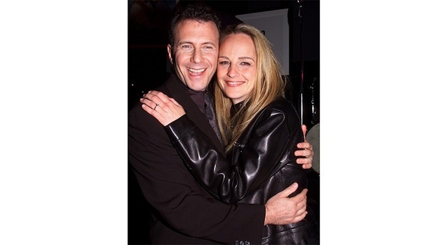 """ Mad About You"" co-stars Paul Reiser and Helen Hunt pose together during a party to celebrate the series finale in Santa Monica, April 5. The Emmy Award winning comedy series ends its seven year run with the final episode, directed by Hunt, which will air in the United States May 1999.
