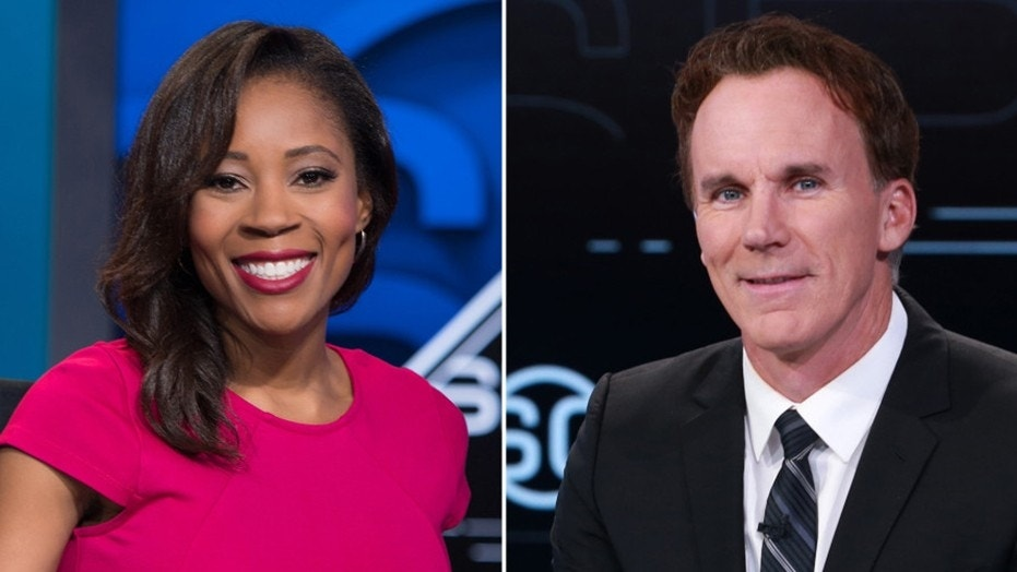 "Former anchor and legal analyst Adrienne Lawrence (left) filed a sexual harassment and discrimination lawsuit against ESPN Sunday, including allegations its HR department ""colluded with ('SportsCenter' host John) Buccigross (right) to cover up his misconduct."""