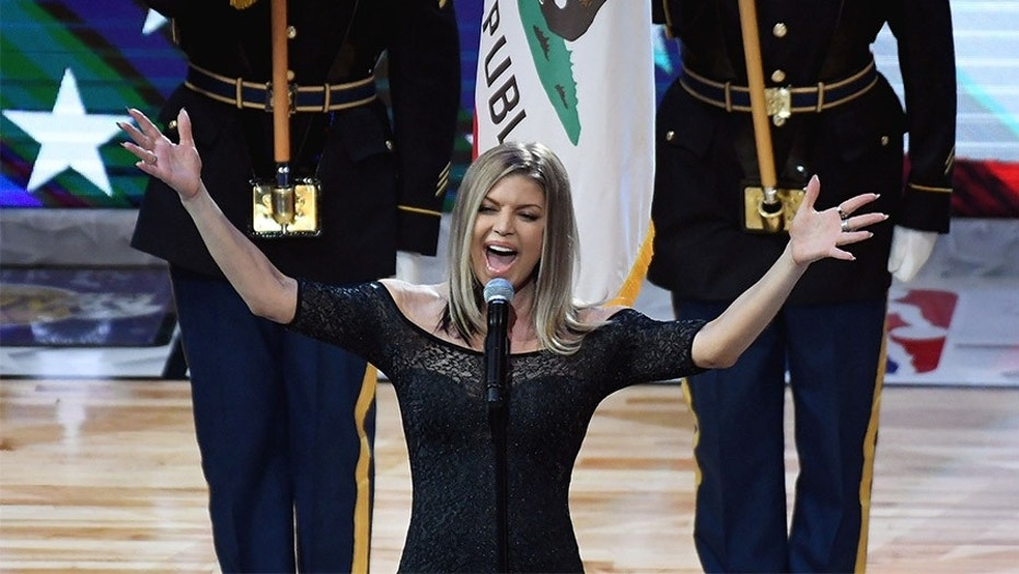 Recording artist Fergie performs the national anthem before the 2018 NBA All Star game at Staples Center.
