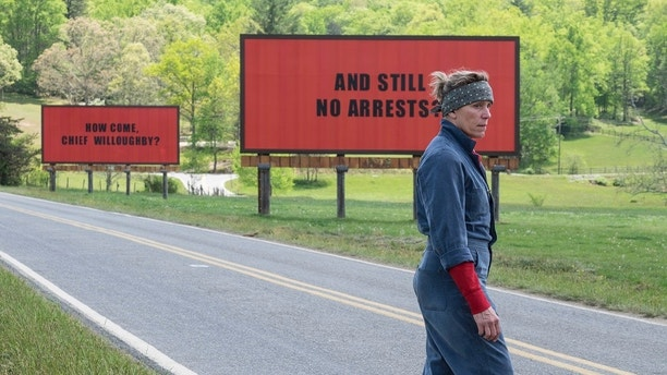 "This image released by Fox Searchlight shows Frances McDormand in a scene from ""Three Billboards Outside Ebbing, Missouri,"" which is nominated for an Oscar for best picture. (Fox Searchlight via AP)"
