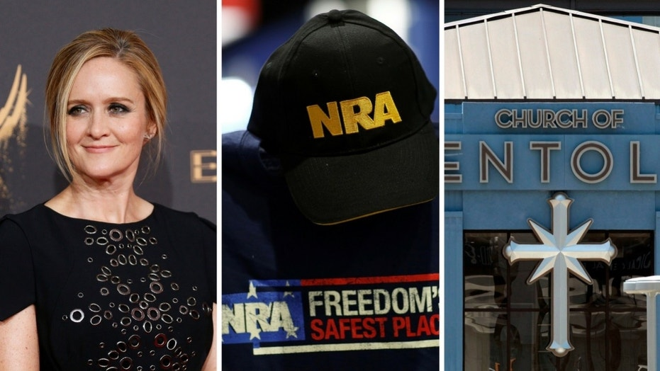 Samantha Bee jokingly called on NRA members to join the Church of Scientology.