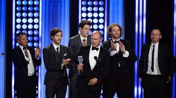 "Producer Mike Judge (C) and the cast of the HBO series ""Silicon Valley"" accept the award for Best Comedy Series during the 5th Annual Critics' Choice Television Awards in Beverly Hills, California May 31, 2015  REUTERS/Kevork Djansezian - TB3EB6106EBFN"
