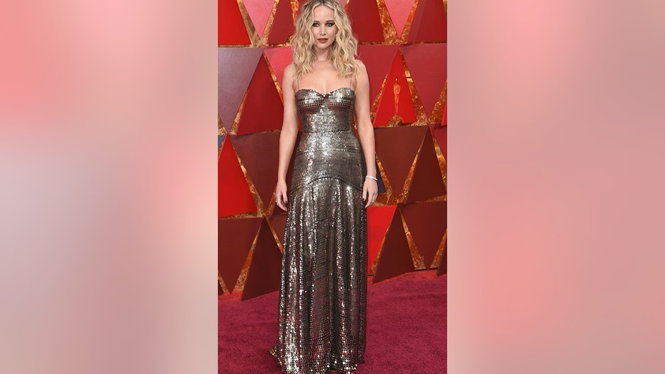Jennifer Lawrence arrives at the Oscars on Sunday, March 4, 2018, at the Dolby Theatre in Los Angeles. (Photo by Richard Shotwell/Invision/AP)