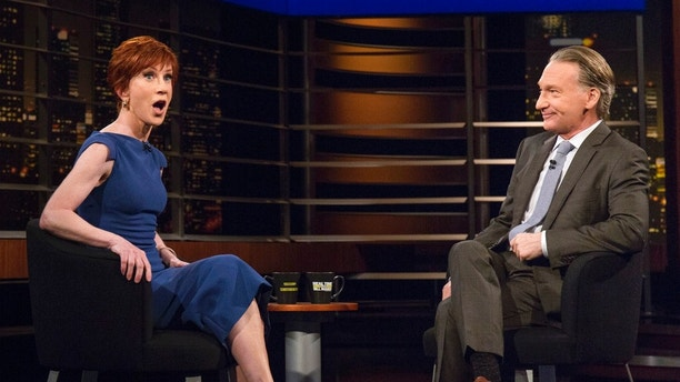 """In this Friday, March 9, 2018 photo provided by HBO, comedian Kathy Griffin, left, appears with host Bill Maher on """"Real Time With Bill Maher, in Los Angeles. Griffin is embarking on her comeback, some nine months after she provoked outrage — and lost much of her work — by posing with a fake severed head that appeared to depict President Donald Trump. Griffin announced on HBO's """"Real Time With Bill Maher"""" on Friday night that she had just booked upcoming shows at New York's Carnegie Hall and at Washington's Kennedy Center — """"Trump's backyard,"""" she called it.  (Janet Van Ham/HBO via AP)"""