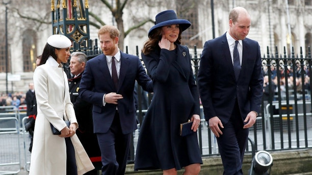 Britain's Prince Harry, his fiancee Meghan Markle, Prince William and Kate, the Duchess of Cambridge, arrive at the Commonwealth Service at Westminster Abbey in London, Britain, March 12, 2018. REUTERS/Peter Nicholls - RC122F9E2870