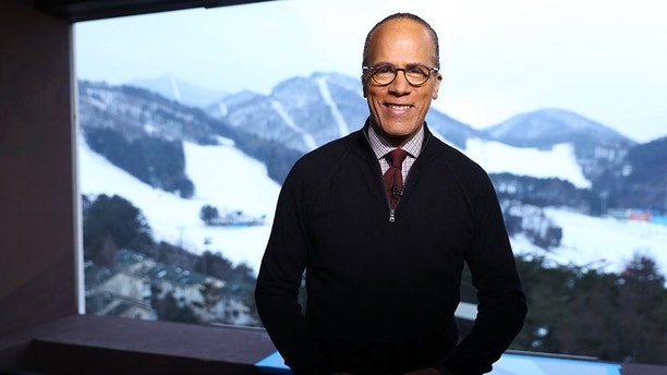 "NBC NIGHTLY NEWS WITH LESTER HOLT -- ""PyeongChang Olympics 2018"" -- Pictured: (l-r) Lester Holt on Friday, February 9, 2018 -- (Photo by: Joe Scarnici/NBC)"