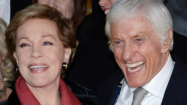"Actors Julie Andrews (L) and Dick Van Dyke attend the film premiere of ""Saving Mr. Banks"" at the Walt Disney Studios in Burbank, California, December 9, 2013. REUTERS/Kevork Djansezian  (UNITED STATES - Tags: ENTERTAINMENT) - GM1E9CA187D01"