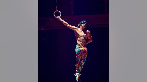This Sept. 24, 2017, photo provided by Michael Kass shows Yann Arnaud during a Cirque du Soleil performance in Toronto. Arnaud died early Sunday, March 18, 2018, after falling while performing during a show on Saturday in Tampa, Fla. (Michael Kass via AP)