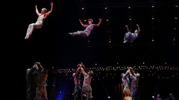 Artists perform during a dress rehearsal for Quidam, a show by Cirque du Soleil, at the Royal Albert Hall in London January 4, 2014. REUTERS/Luke MacGregor (BRITAIN - Tags: ENTERTAINMENT SOCIETY) - GM1EA1509ZG01