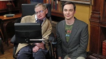 """The Hawking Excitation"" -- When Wolowitz gets to work with Stephen Hawking (left), Sheldon (Jim Parsons, right) is willing to do anything to meet his hero, on THE BIG BANG THEORY, Thursday, April 5 (8:00-8:31 PM, ET/PT) on the CBS Television Network.    Photo: Sonja Flemming/CBS  ©2012 CBS Broadcasting Inc. All Rights Reserved."