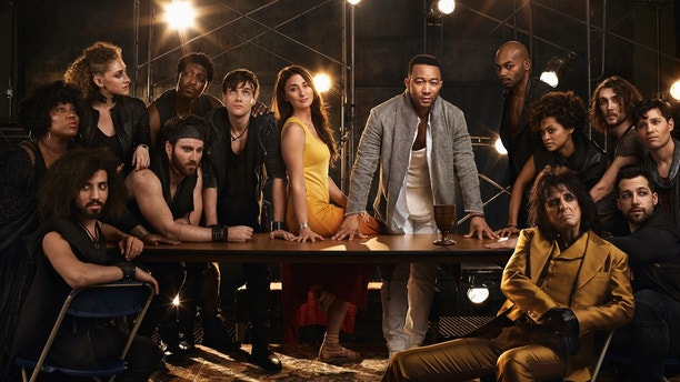JESUS CHRIST SUPERSTAR LIVE IN CONCERT -- Season: 2018 --  Pictured: (l-r) center: Sara Bareilles as Mary Magdalene, John Legend as Jesus Christ, Brandon Victor Dixon as Judas Iscariot, Jason Tam as Peter, front: Alice Cooper as King Herod, with ensemble cast -- (Photo by: James Dimmock/NBC)