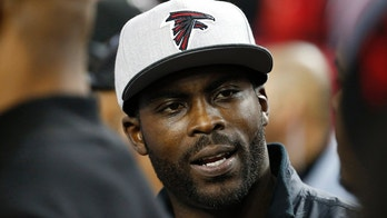 Jan 1, 2017; Atlanta, GA, USA; Former Atlanta Falcons quarterback Michael Vick during pregame before the Falcons game against the New Orleans Saints at the Georgia Dome. Mandatory Credit: Jason Getz-USA TODAY Sports - 9782383