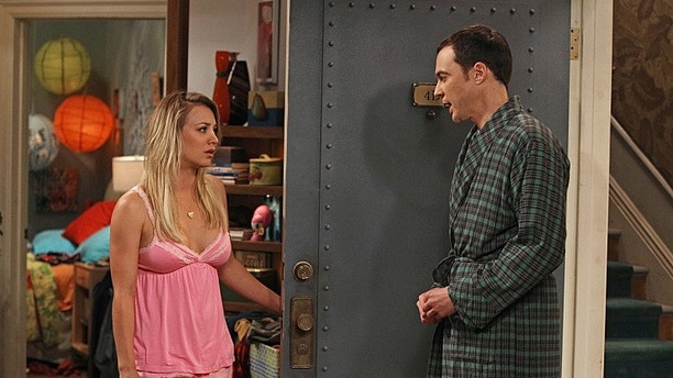"""""""The Hofstadter Insufficiency"""" -- Sheldon (Jim Parsons, right) and Penny (Kaley Cuoco, left) share intimate secrets while Leonard is away at sea, on a special one-hour seventh season premiere of THE BIG BANG THEORY Thursday, Sept. 26 (8:00 – 9:01 PM, ET/PT) on the CBS Television Network. Photo: Monty Brinton/CBS ©2013 CBS Broadcasting, Inc. All Rights Reserved."""