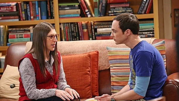 """""""The Locomotive Manipulation"""" -- Love is in the air when Sheldon (Jim Parsons, right) and Amy (Mayim Bialik, left) join Howard and Bernadette for a trip to wine country, on THE BIG BANG THEORY, Thursday, Feb. 6 (8:00 âÃÂà8:31 PM, ET/PT) on the CBS Television Network.  Photo: Michael Yarish/WBEI  ÃÂé 2014 WBEI. All rights reserved."""