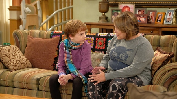 "ROSEANNE - ""Dress to Impress"" - After being bullied, Darlene's son, Mark, gets caught with a pocket knife on the first day of his new school. Meanwhile, Becky invites Andrea over to meet the family and is nervous to bring her home, on the season premiere and second episode of the revival of ""Roseanne,"" TUESDAY, MARCH 27 (8:30-9:00 p.m. EDT), on The ABC Television Network. (ABC/Adam Rose)