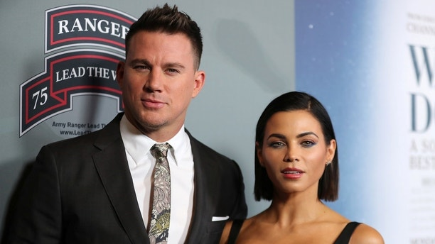 """Executive Producer Channing Tatum and his wife Jenna Dewan Tatum arrive at the premiere of """"War Dog: A Soldier's Best Friend"""" in Los Angeles, California, U.S., November 6, 2017.      REUTERS/Mike Blake - RC1D4F228770"""