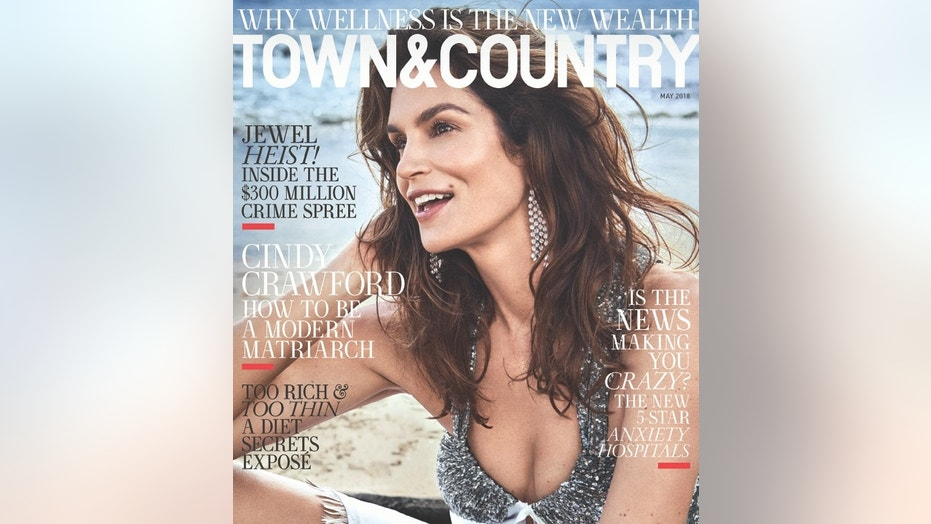 Cindy Crawford poses on the cover of the May 2018 issue of Town & Country.
