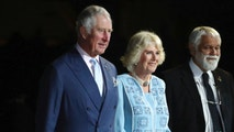 Prince Charles, left and Camilla, Duchess of Cornwall, center, arrive with Aboriginal Elder Ted Williams during the opening ceremony for the 2018 Commonwealth Games at Carrara Stadium on the Gold Coast, Australia, Wednesday, April 4, 2018. (AP Photo/Dita Alangkara)