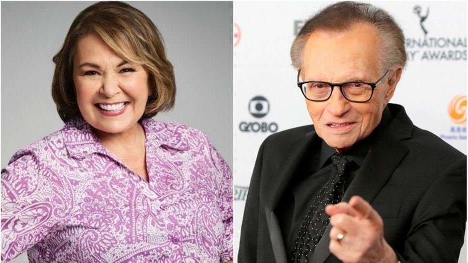 """Larry King praised Roseanne Barr on the success of """"Roseanne"""" and for its """"great political balance"""" on April 3, 2018."""