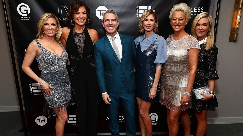 NEW YORK, NY - APRIL 04: (L-R) Ramona Singer, Luann de Lesseps, Andy Cohen, Carole Radziwill, Dorinda Medley and Tinsley Mortimer attend The Real Housewives of New York Season 10 premiere celebration at LDV Hospitality's The Seville, produced by Talent Resources on April 4, 2018 in New York City. (Photo by Astrid Stawiarz/Getty Images for Talent Resources)