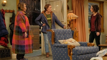 "ROSEANNE - ""Eggs Over, Not Easy"" - A crucial moment for Becky's surrogacy arrangement forces her and Darlene to critically assess each other's lives. Meanwhile, an animal rescue organization rejects Jackie's application to adopt a puppy; and Roseanne makes a plan to change their mind, on the fourth episode of the revival of ""Roseanne,"" TUESDAY, APRIL 10 (8:00-8:30 p.m. EDT), on The ABC Television Network. (ABC/Adam Rose)