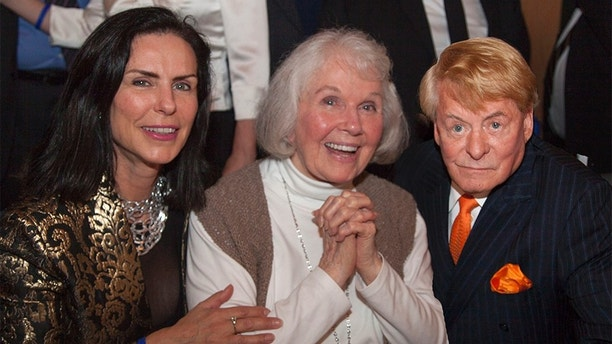 Doris Day makes a surprise appearance at her 90th birthday party in Carmel, California. The screen icon, who was making her first public appearance in two decades, posed for photos with her fans at the event at Carmel's Quail Lodge on April 4, 2014. Doris had not been expected to attend the party - a fundraiser for the Doris Day Animal Foundation - and guests gasped as she entered the room. Peter Marshall compered the event and 175 guests were treated to video highlights of Doris's lengthy career. Mr. Marshall and singer Sue Raney also performed a number of Doris Day songs. The event raised more than $90,000 for Doris's charity, www.dorisdayanimalfoundation.org<P>Pictured: Jeanne Cox LeVett, Doris Day and Denny LeVett<P><B>Ref: SPL735576  090414  </B><BR/>Picture by: 65 Degrees/Manny Espinoza/Splash<BR/></P><P><B>Splash News and Pictures</B><BR/>Los Angeles:310-821-2666<BR/>New York:212-619-2666<BR/>London:870-934-2666<BR/>photodesk@splashnews.com<BR/></P>