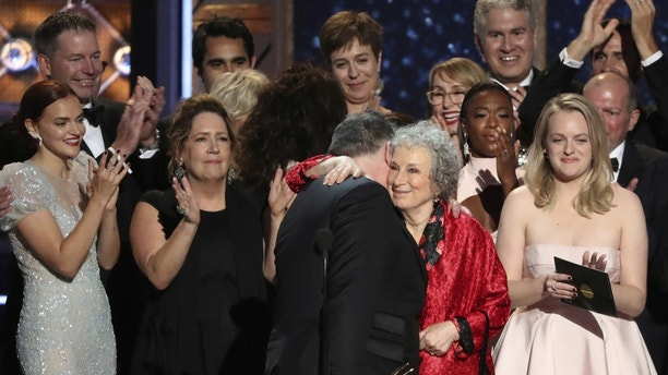"""69th Primetime Emmy Awards Show in Los Angeles, California, U.S., September 17, 2017.  The cast accepts the award for Outstanding Drama Series for """"The Handmaid's Tale"""". Picture taken September 17, 2017.  REUTERS/Mario Anzuoni - RC15745ABDF0"""