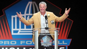 Aug 6, 2016; Canton, OH, USA; Former Green Bay Packers quarterback Brett Favre reacts during his acceptance speech during the 2016 NFL Hall of Fame enshrinement at Tom Benson Hall of Fame Stadium. Mandatory Credit: Charles LeClaire-USA TODAY Sports  / Reuters 
