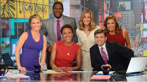 GOOD MORNING AMERICA - Coverage of GOOD MORNING AMERICA, 5/8/14, airing on the ABC Television Network.   (ABC/Ida Mae Astute)  AMY ROBACH, MICHAEL STRAHAN, ROBIN ROBERTS, LARA SPENCER, GEORGE STEPHANOPOULOS, GINGER ZEE