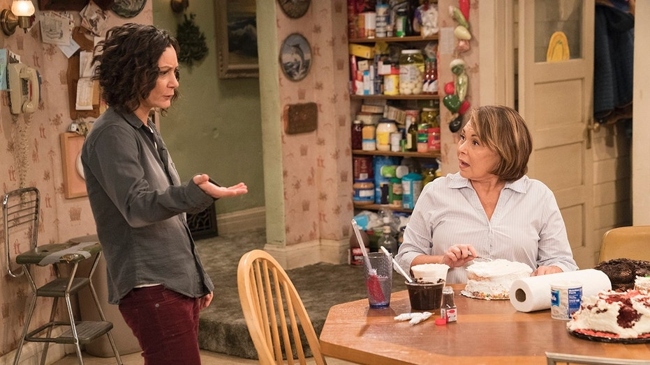 """ROSEANNE - """"Darlene v. David"""" - David unexpectedly shows up for Harris' birthday after being absent for years, forcing Darlene to re-examine their relationship and the rest of the family. Meanwhile, Roseanne and Jackie's mother, Bev, temporarily moves into the Conner home after an incident at the nursing home prevents her from returning, on the fifth episode of the revival of """"Roseanne,"""" TUESDAY, APRIL 17 (8:00-8:30 p.m. EDT), on The ABC Television Network. (ABC/Greg Gayne) SARA GILBERT, ROSEANNE BARR"""