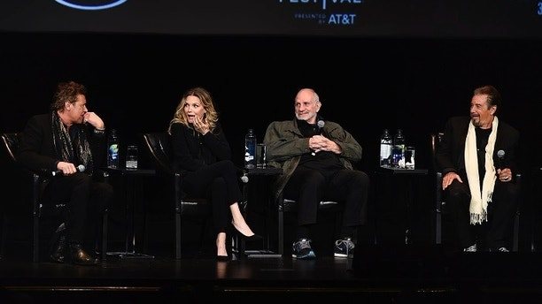 """Actor Steven Bauer, actress Michelle Pfeiffer, director Brian De Palma and actor Al Pacino, from left, attend a 35th anniversary screening """"Scarface"""" at Beacon Theatre during the Tribeca Film Festival on Thursday, April 19, 2018, in New York. (Photo by Evan Agostini/Invision/AP)"""